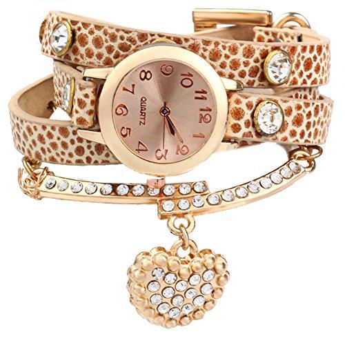Leopard Shop Vintage Frauen Armbanduhr Leopard Leder Armband Handgelenk gewickelt mit Herz Anhaenger Strass beige