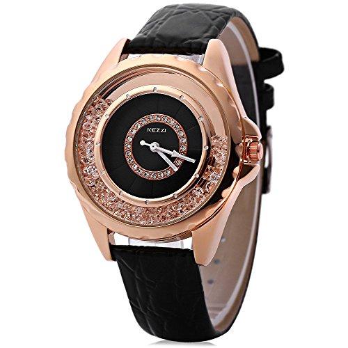 Leopard Shop kezzi Frauen Quarzuhr Armbanduhr Kuenstliche Diamant Zifferblatt schwarz