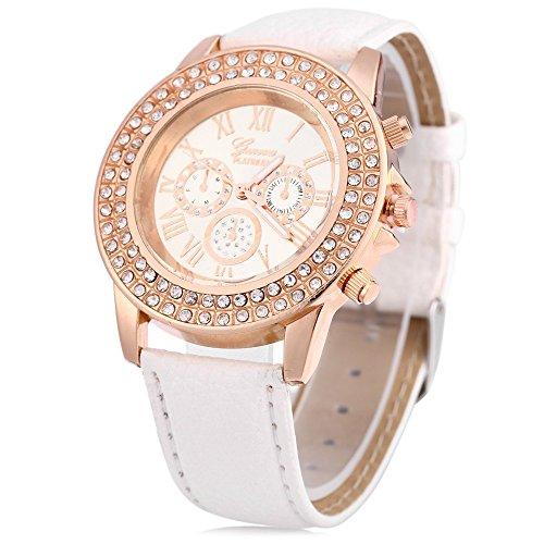 Leopard Shop Frauen Armbanduhr Kuenstliche Diamant Zifferblatt Deko Weiss