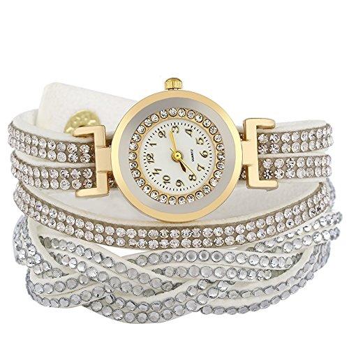 Leopard Shop Damen Armband Lederband mit Strass verziert weiss