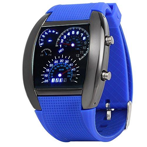 Leopard Shop LED Auto Armbanduhr Blau Licht Display Arch Form Gummi Band Blau