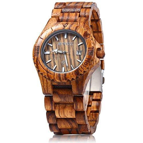 Leopard Shop Bewell Herren Datum grosse Luminous Pointer Holz Zebra Holz
