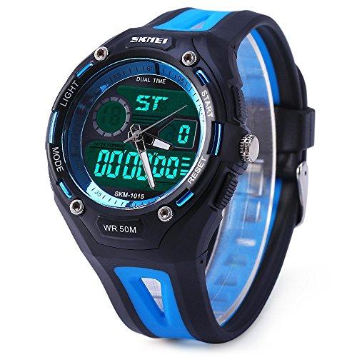 Leopard Shop SKMEI Sports Armbanduhr Double Movt Militaer LED Armbanduhr 5 ATM wasserdicht blau