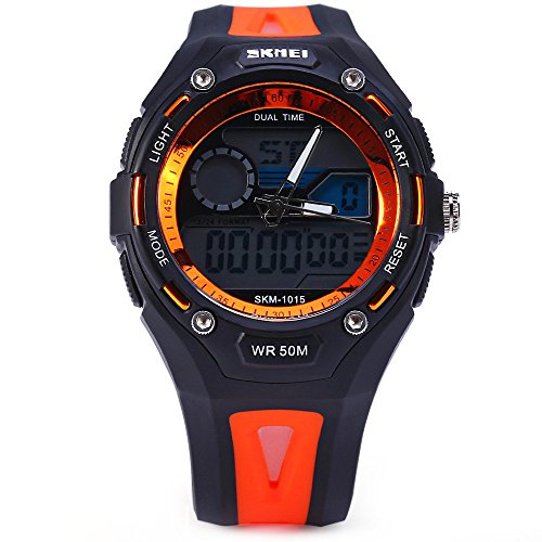 Leopard Shop SKMEI Sports Armbanduhr Double Movt Militaer LED Armbanduhr 5 ATM wasserdicht Orange