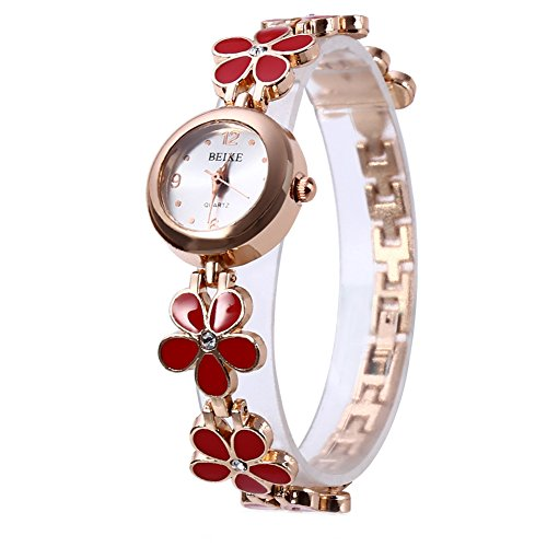 Leopard Shop Frauen Armbanduhr Pentalobe Armband Kristall Edelstahl rot