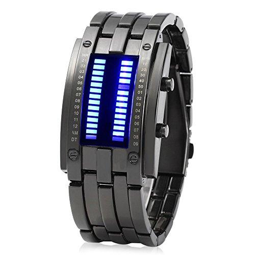 Leopard Shop Herren Armband Armbanduhr Datum Binary Digital LED Rechteck Zifferblatt schwarz