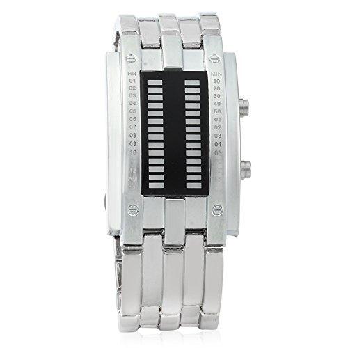 Leopard Shop Herren Armband Armbanduhr Datum Binary Digital LED Rechteck Zifferblatt Silber