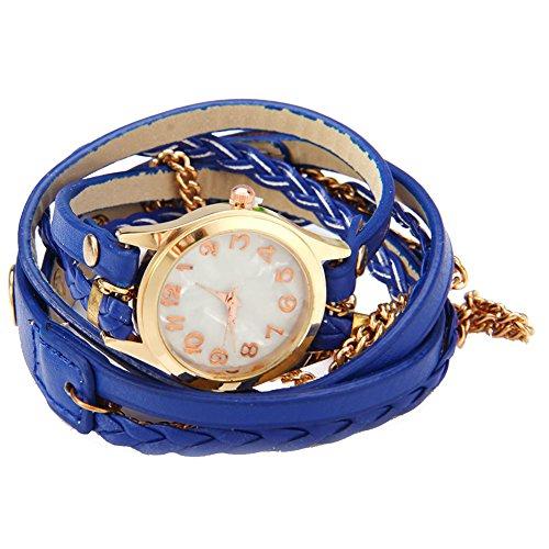 Leopard Shop Frauen Armbanduhr Vintage Weave Wrap Leder Armband blau