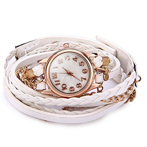 Leopard Shop Frauen Armbanduhr Vintage Weave Wrap Leder Armband Weiss