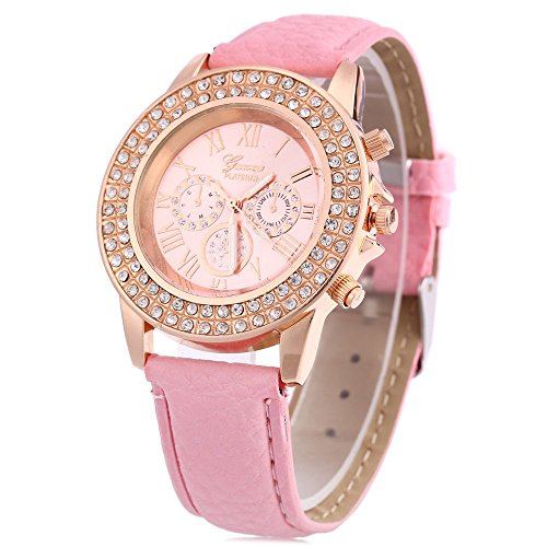 Leopard Shop Frauen Armbanduhr Kuenstliche Diamant Zifferblatt dekoratives Licht Pink