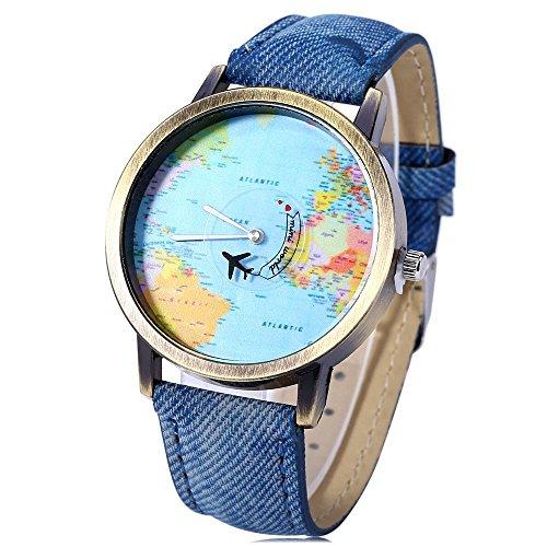Leopard Shop Quarz Armbanduhr Zifferblattmotiv Weltkarte Lederband in Blau