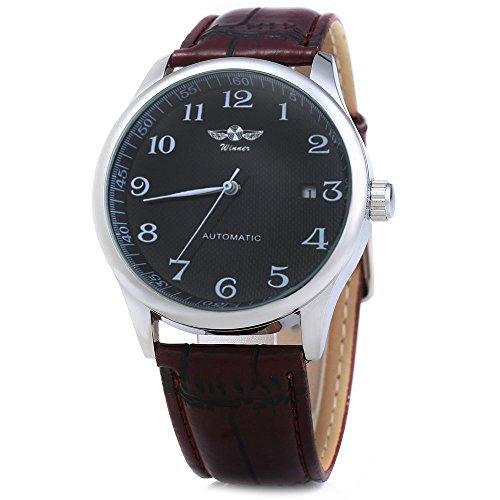 Leopard Shop Winner Herren Automatik Mechanische Uhr Datum Display Leder Band Schwarz Braun