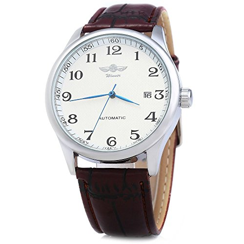 Leopard Shop Winner Herren Automatik Mechanische Uhr Datum Display Leder Band Weiss Braun