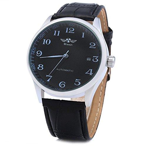 Leopard Shop Winner Herren Automatik Mechanische Uhr Datum Display Leder Band Schwarz Schwarz