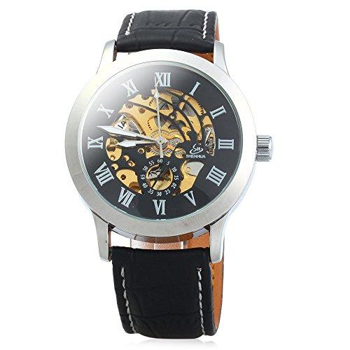 Leopard Shop SHENHUA Herren Automatische mechanische Uhr Hollow Roman Skala Lederband schwarz silber schwarz