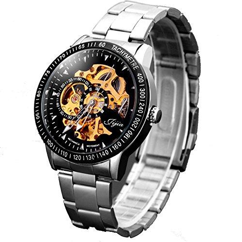 Leopard Shop jijia Man Automatische Mechanische Armbanduhr Rund Zifferblatt TinkSky Edelstahl Band Schwarz