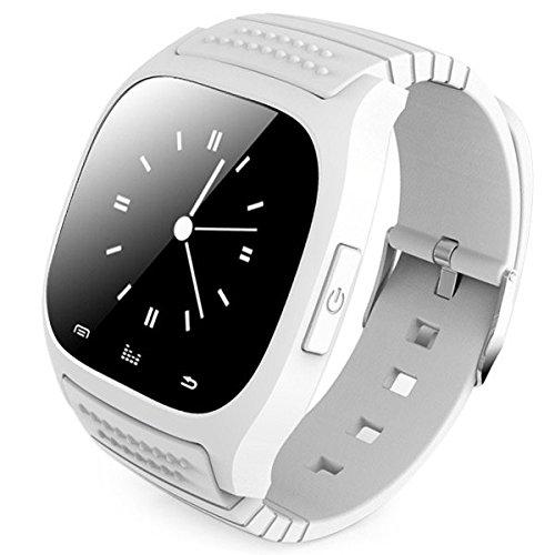 Leopard Shop LED Licht Display Bluetooth Uhr mit Zifferblatt Call Antwort SMS erinnern Musik Player Antiverlust passometer weiss