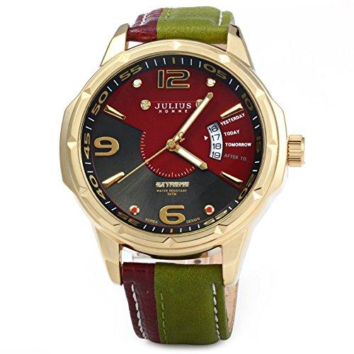 Leopard Shop Julius Herren Business Datum Leder Armband Golden gruen