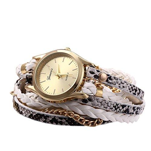 Leopard Shop Damen Quarzuhr Armband geflochten Ledertextur in Schlangenoptik weiss