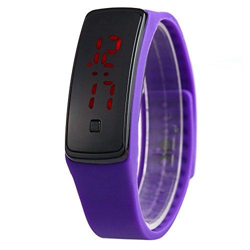 Leopard Shop Unisex LED Digital Armband Uhr Sport Armbanduhr Lila