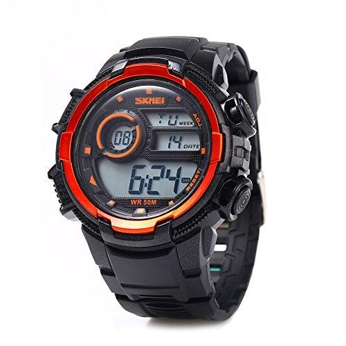 Leopard Shop SKMEI Herren LED Sport Armbanduhr Silikon orange