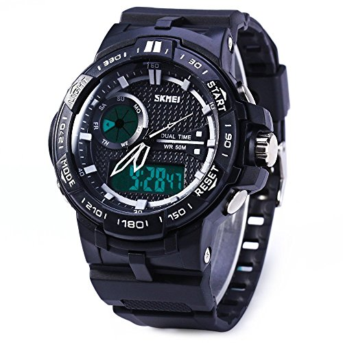 Leopard Shop SKMEI LED Digital Quarz Military Armbanduhr Dual Time Alarm Tag Datum weiss