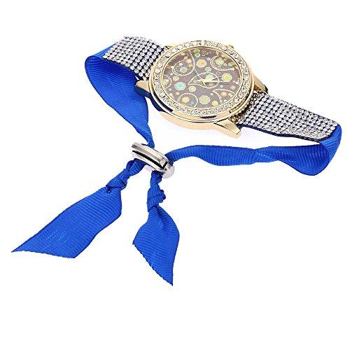Leopard Shop Frauen Quarzuhr folk custom Style runden Zifferblatt Korea Samt Kuenstliche Diamant Band Blau