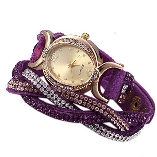 Leopard Shop Frauen Armband Strass Kette lila