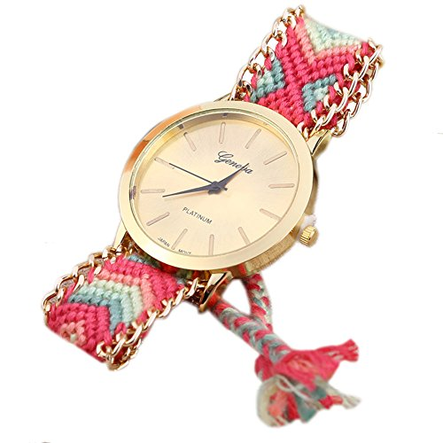 Leopard Shop GENEVA Frauen Armbanduhr Weave Stoff Multicolor Band 1
