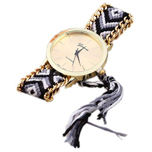 Leopard Shop GENEVA Frauen Armbanduhr Weave Stoff Multicolor Band 4