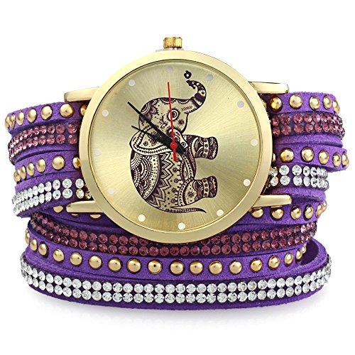 Leopard Shop Frauen Handgelenk Quarzuhr geflochten Aufziehen Wrap Elefant Stift Armband Violett