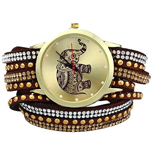 Leopard Shop Frauen Handgelenk Quarzuhr geflochten Aufziehen Wrap Elefant Stift Armband braun