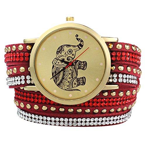 Leopard Shop Frauen Handgelenk Quarzuhr geflochten Aufziehen Wrap Elefant Stift Armband rot