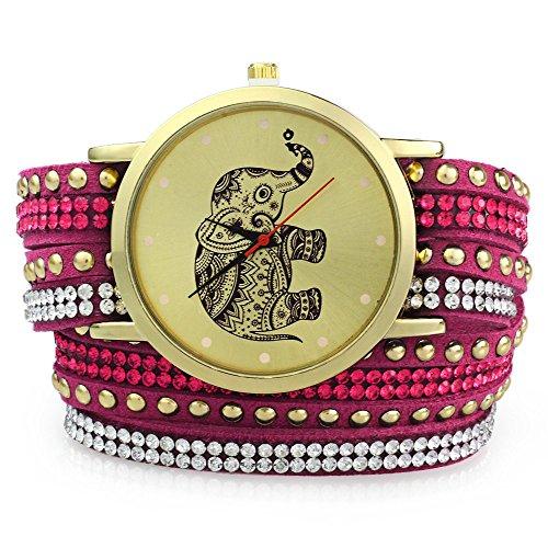 Leopard Shop Frauen Handgelenk Quarzuhr geflochten Aufziehen Wrap Elefant Stift Armband Rose Verrueckter
