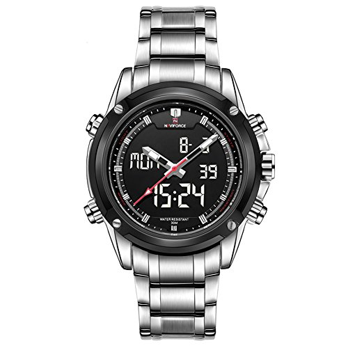 Leopard Shop Dual Movt Herren Farben Analog Digital LED Armbanduhr Silber Silber