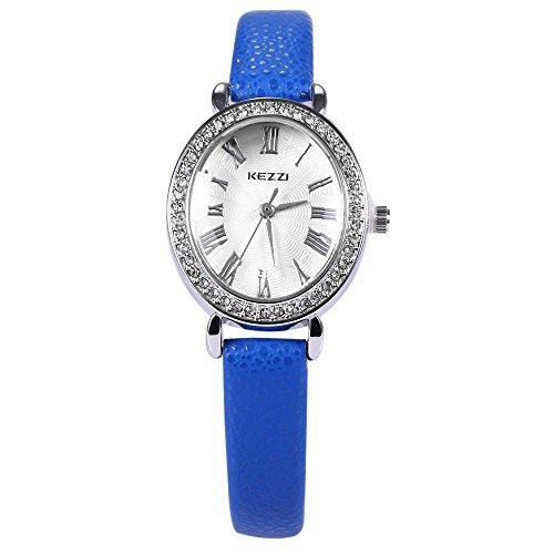 Leopard Shop kezzi Frauen PU Leder Band Armbanduhr Blau