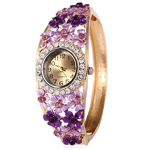 Leopard Shop weiblich Quarzuhr Kuenstliche Diamant Zifferblatt Garden Style Hohl Blumen Armreif Armbanduhr 2