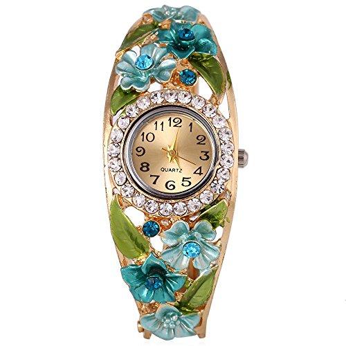 Leopard Shop weiblich Quarzuhr Kuenstlicher Diamant Hohl Blumen Zifferblatt Armband Garden Style Armbanduhr 5