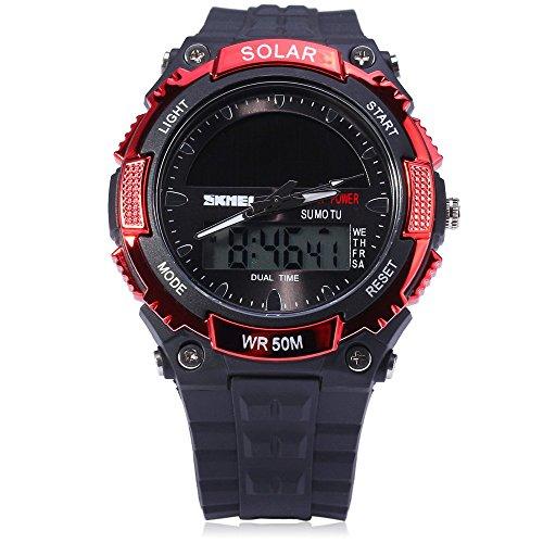 Leopard Shop SKMEI Solar Power Armee LED Uhr dual movt Sport Datum Woche Militaer rot
