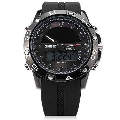 Leopard Shop SKMEI Armee LED Uhr Datum Tag Alarm Solar Power dual movt wasserabweisend schwarz