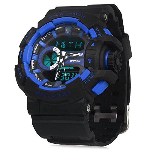 Leopard Shop SKMEI Herren Luminous Digital Quarz Sport Armbanduhr Wasser resistent Stoppuhr Alarm Datum Blau