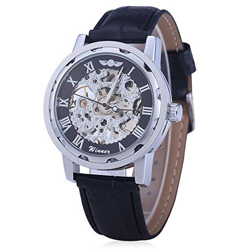 Leopard Shop Winner Herren Hohl mechanische Uhr roemischen Massstab Leder Band Schwarz Silber