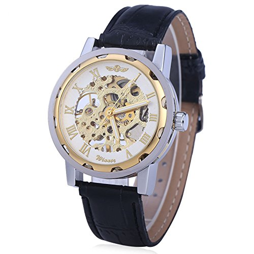 Leopard Shop Winner Herren Hohl mechanische Uhr roemischen Massstab Leder Band Weiss Golden