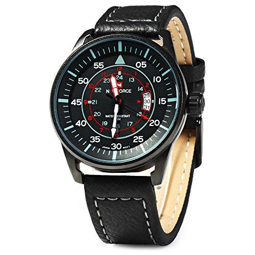 Leopard Shop naviforce Herren Quarz Analog Uhr Armbanduhr PU Armband schwarz