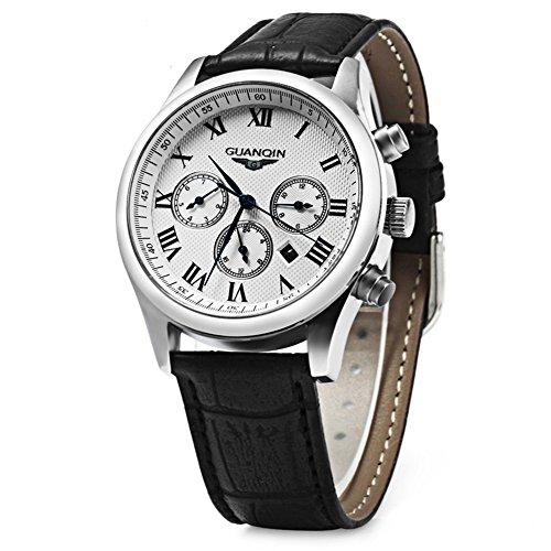 Leopard Shop guanqin Me Quartz Armbanduhr Leder Band Kalender Drei beweglichen Zifferblaetter zur schwarz weiss weiss