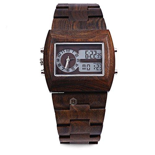 Leopard Shop Bewell Herren Bambusholz mit doppeltem Uhrwerk beleuchtetes Display Ebenholz