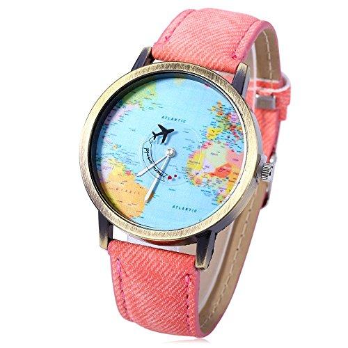 Leopard Shop Weltkarten Motiv auf dem Zifferblatt Leder Band in Pink