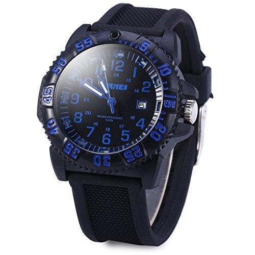 Leopard Shop SKMEI Herren Quarzuhr Datumsanzeige Silikon Band Wasser Resistant Blau