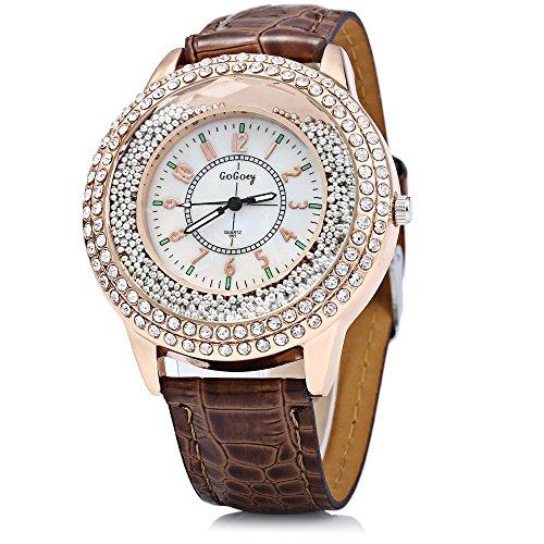 Leopard Shop GoGoey Frauen Quarzuhr Kristall Diamant Leder Band Kaffee
