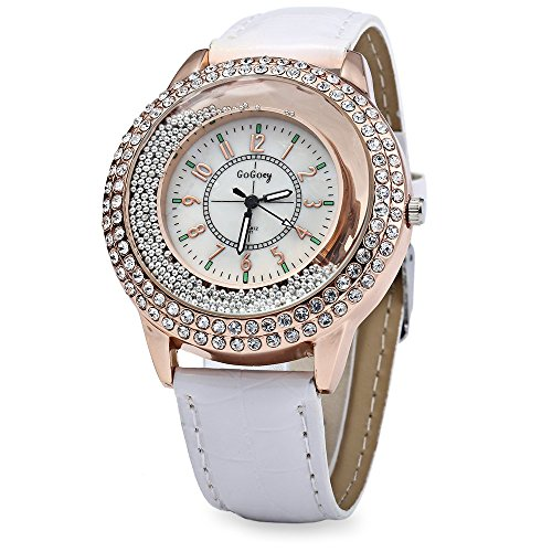 Leopard Shop GoGoey Frauen Quarzuhr Kristall Diamant Leder Band Weiss